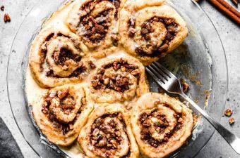 No Yeast Brown Butter Maple Pecan Cinnamon Rolls