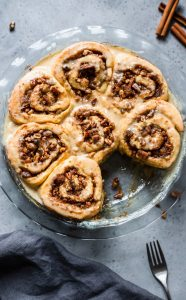 brown butter maple pecan cinnamon buns