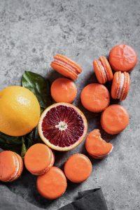 blood orange macarons with sliced blood orange