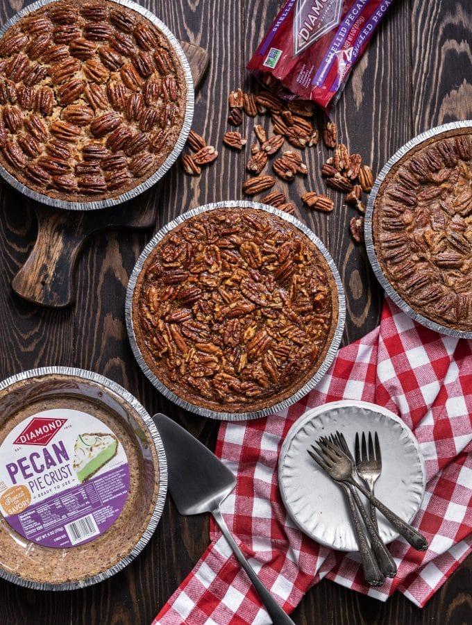 Pecan pie three ways featuring diamond nuts pecan pie crust