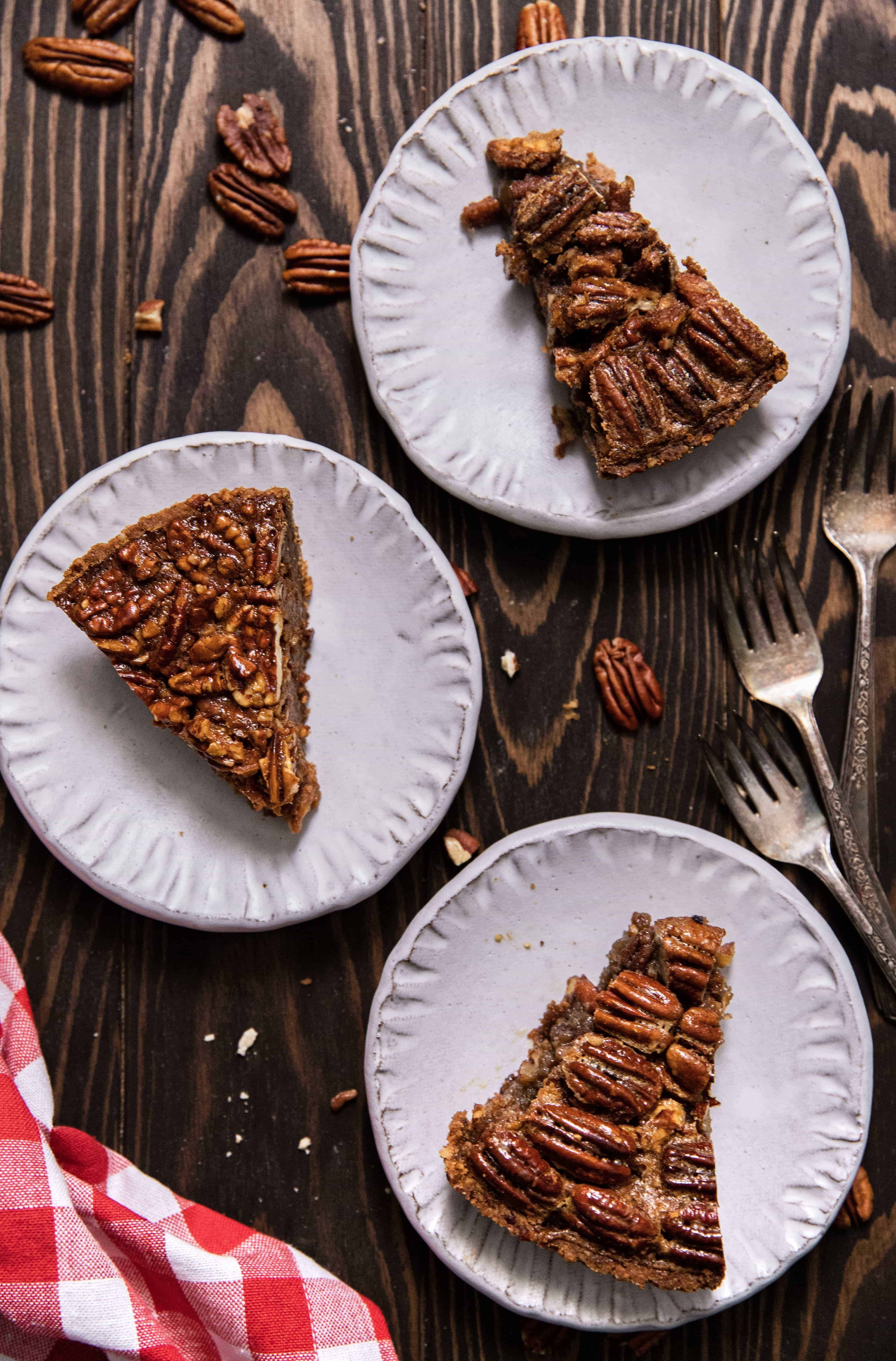salted caramel, bourbon, and maple cinnamon brown sugar pecan pie slices