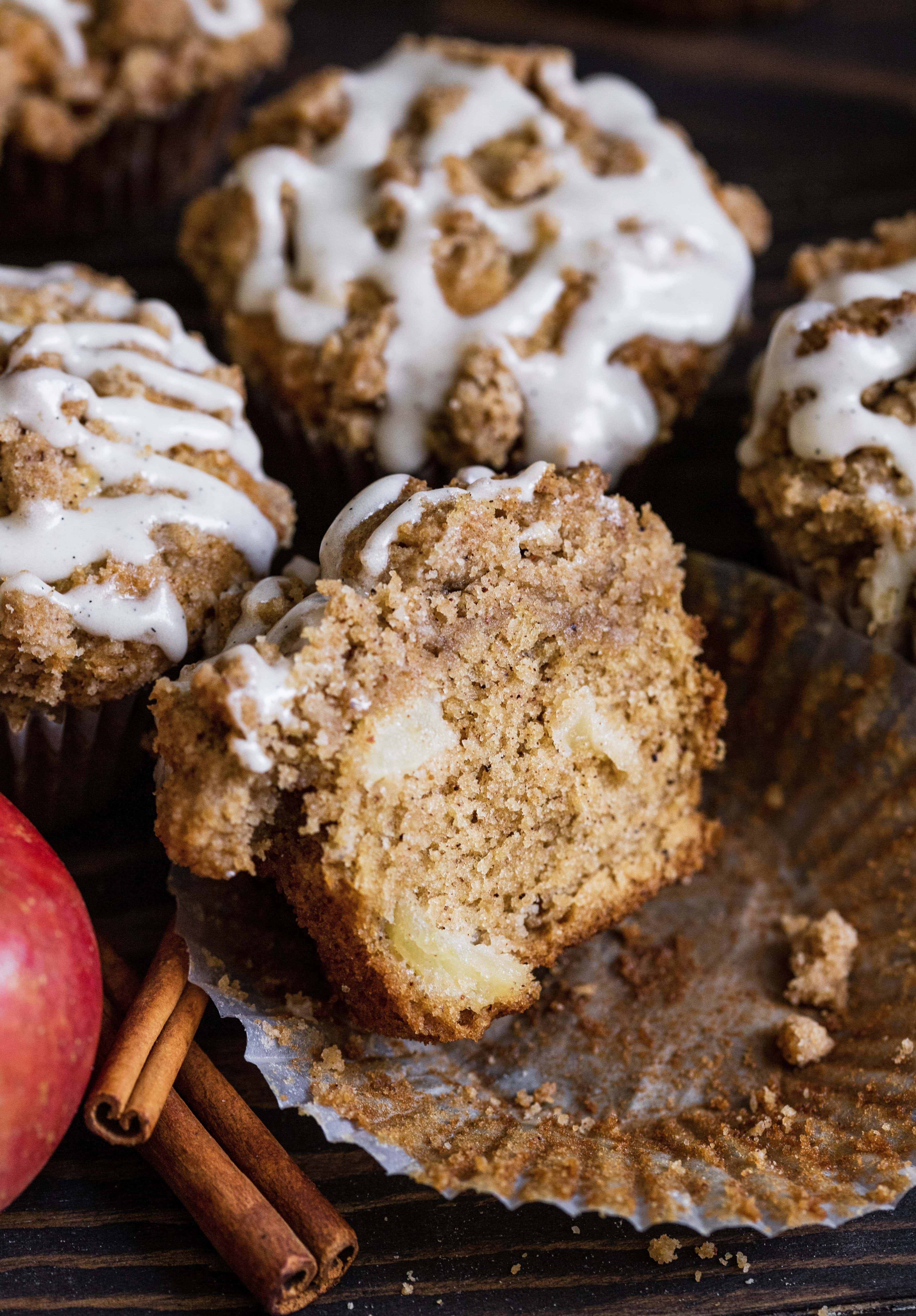 apple cinnamon muffin cut in half
