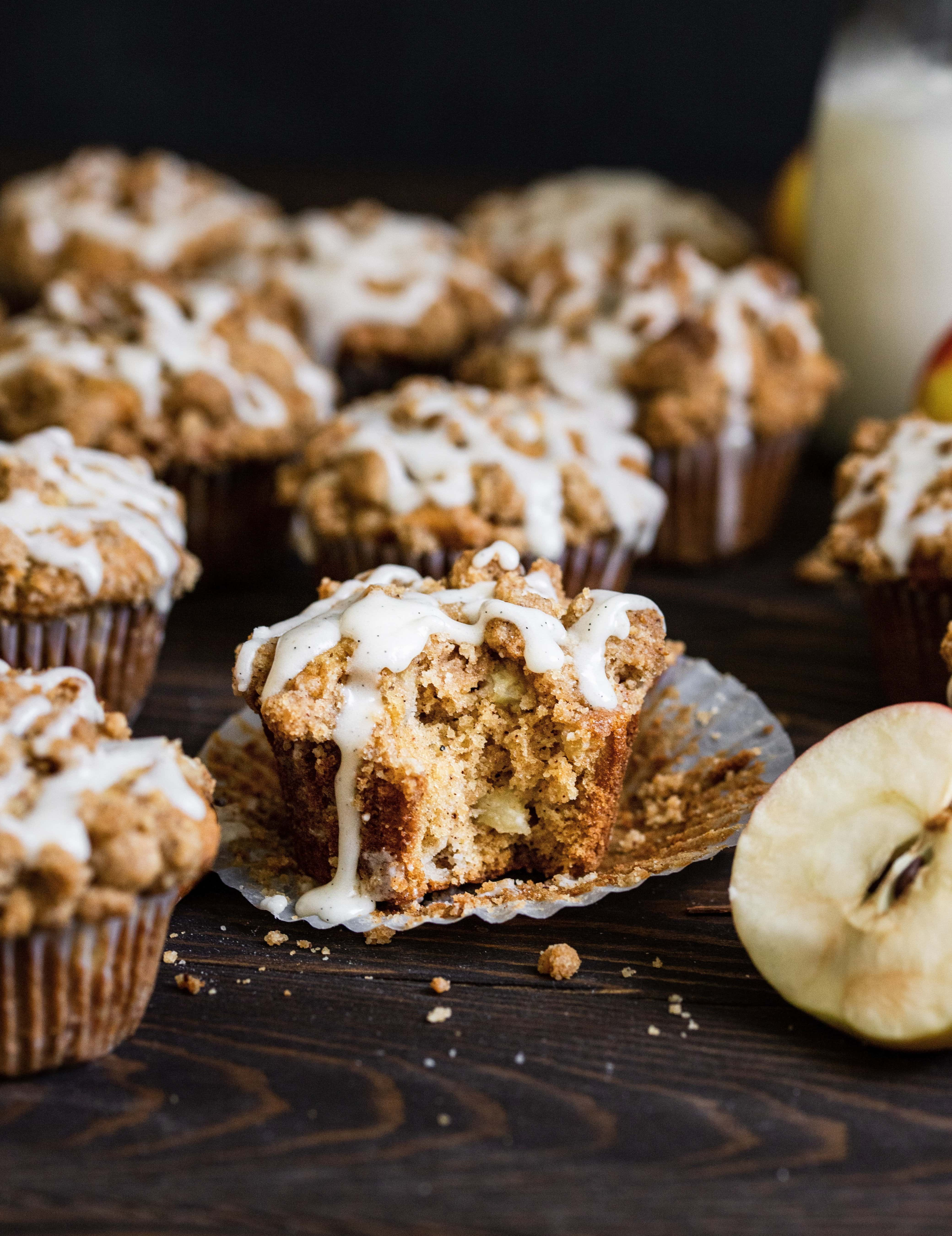 apple cinnamon muffin with bite missing