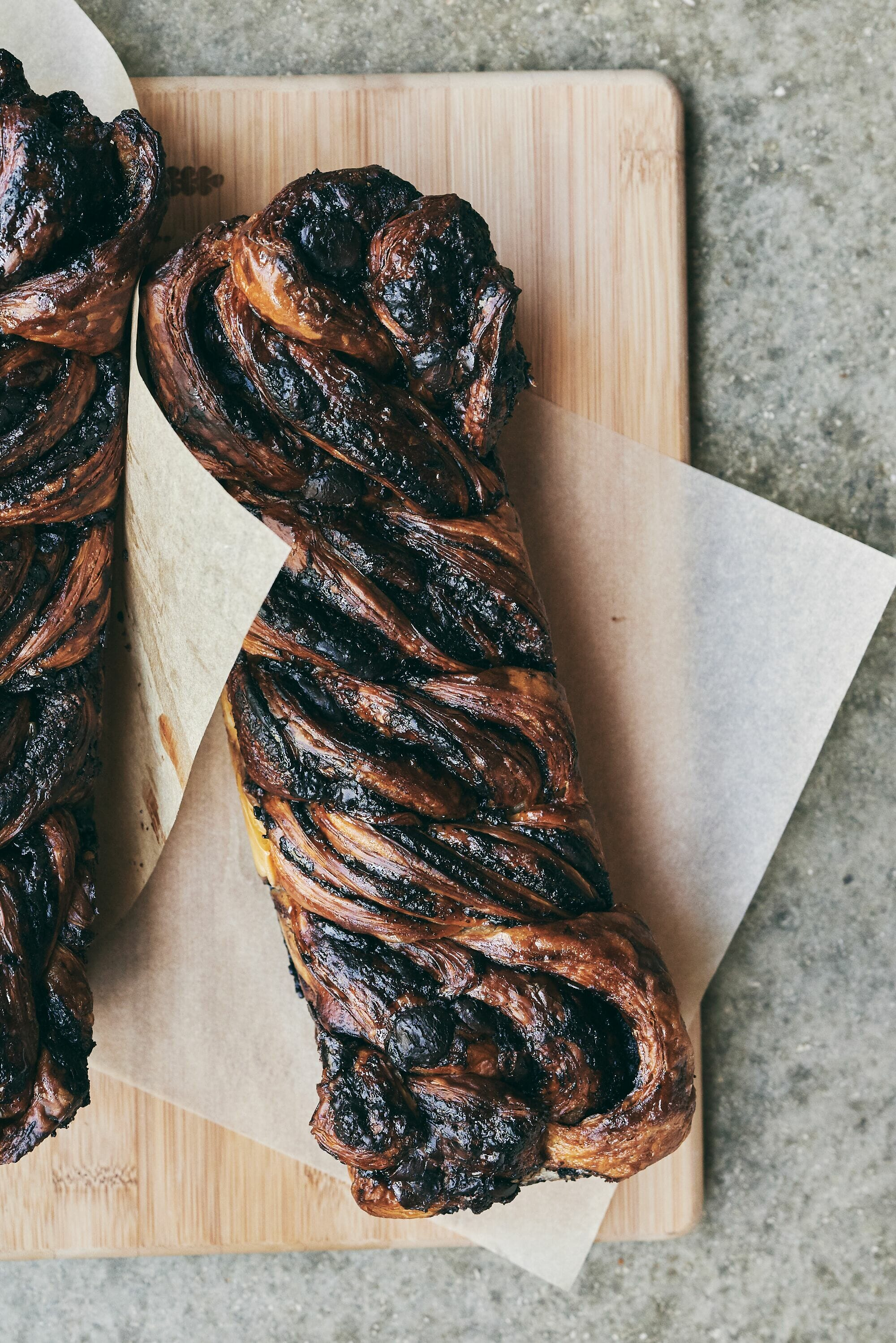 chocolate babka loaves from lehamim bakery