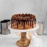 peanut butter brown sugar layer cake with chocolate fudge buttercream and chocolate ganache drip