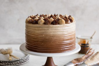 apple cider layer cake with spiced salted caramel buttercream