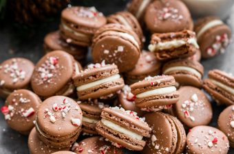 chocolate peppermint macarons and a glass of milk