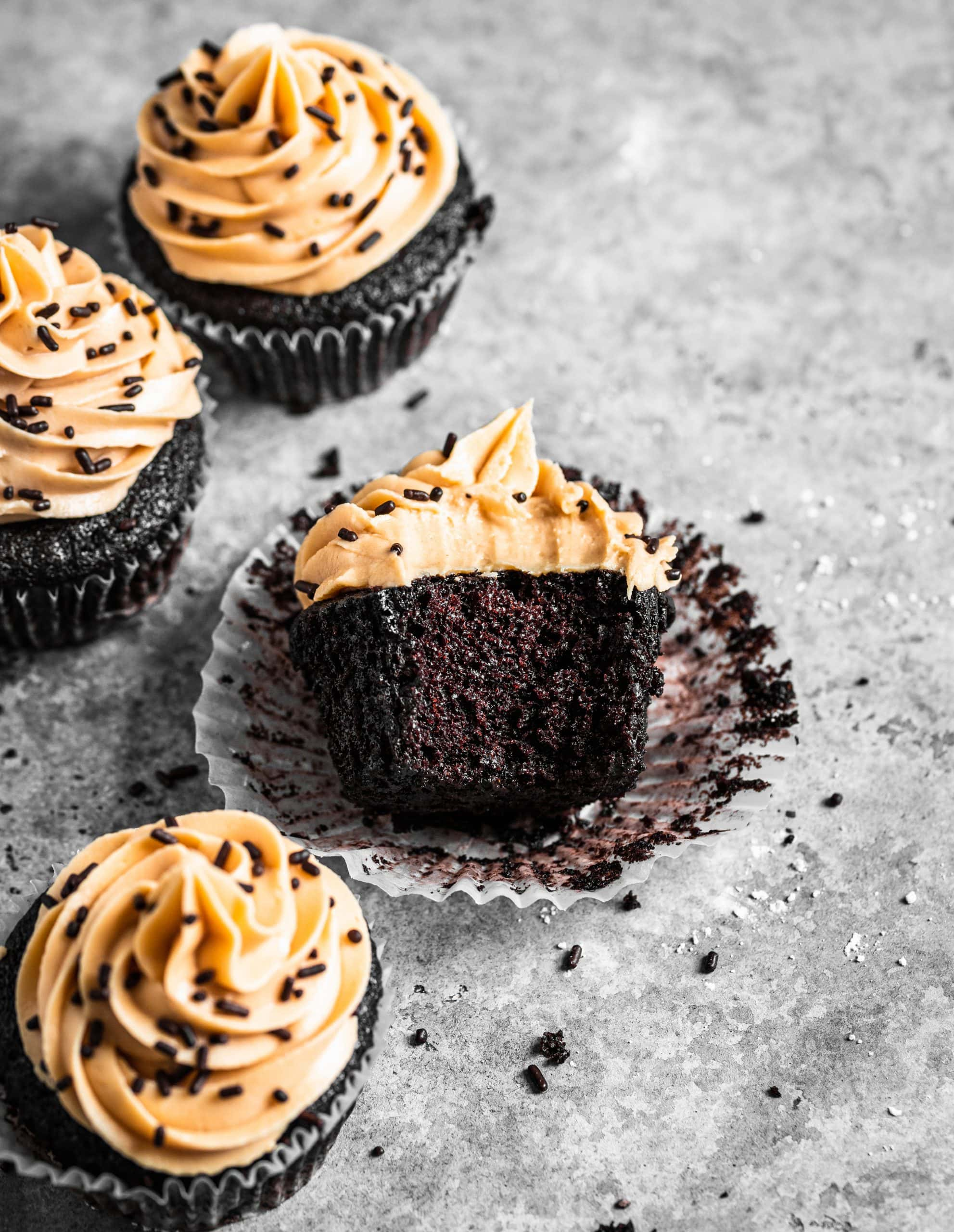 Small Batch Chocolate Cupcakes with Peanut Butter Buttercream Frosting