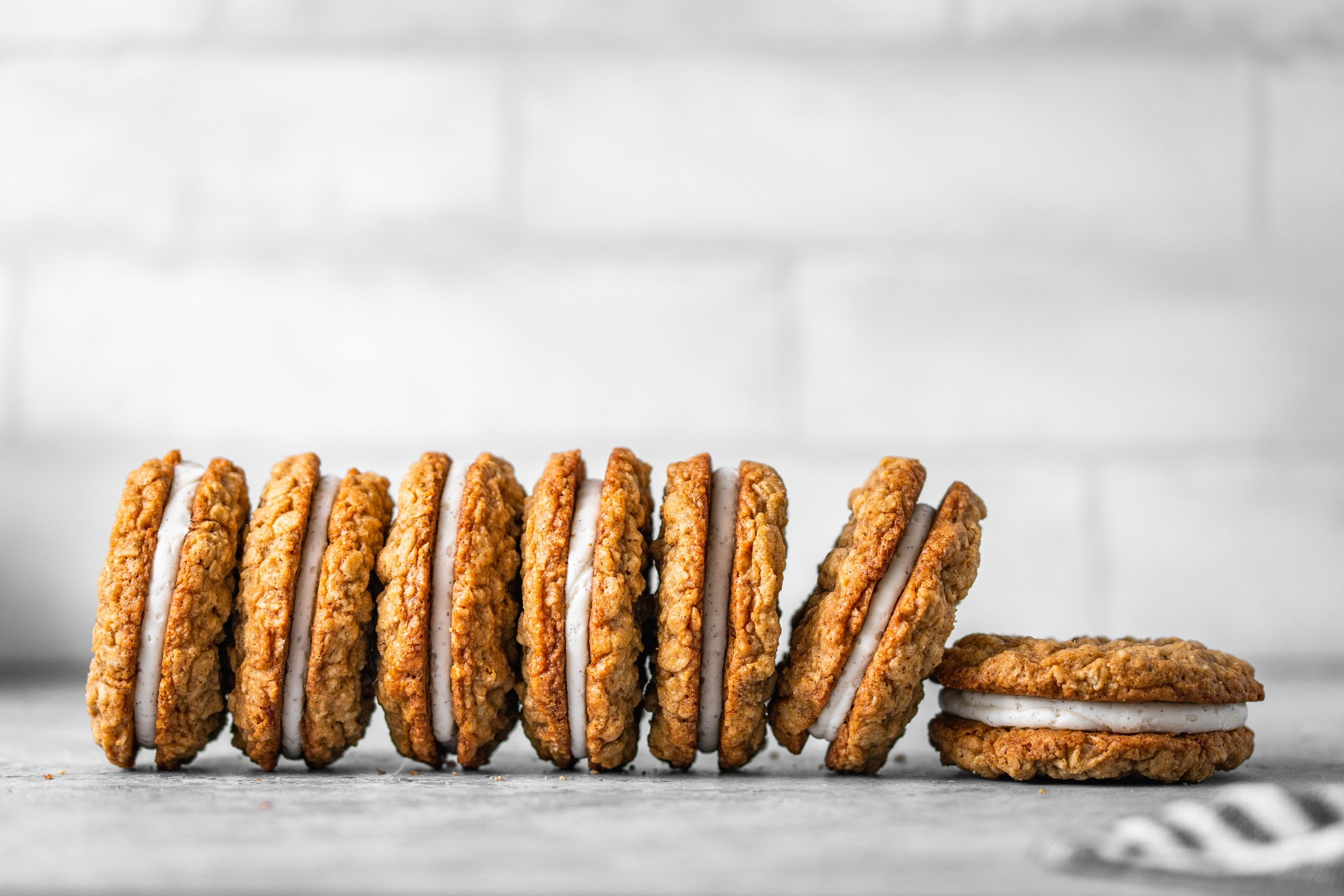 Homemade Oatmeal Creme Pies with Vanilla Bean Creme Filling