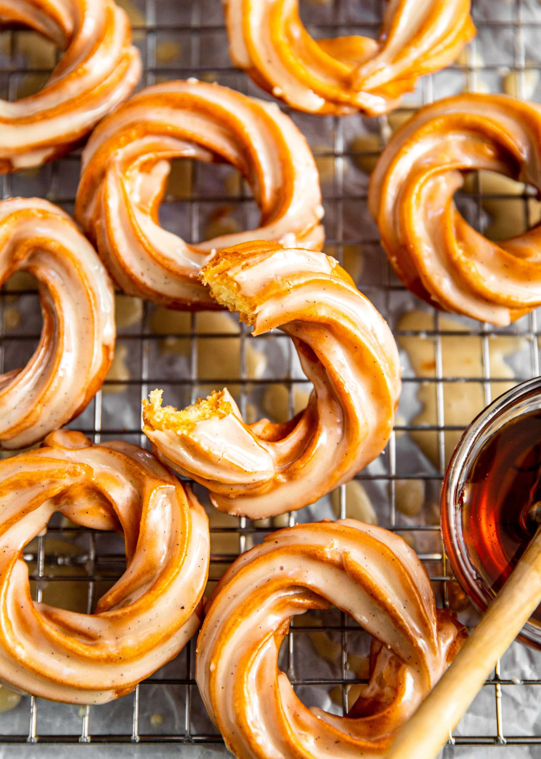 Vanilla Bean Honey Glazed Crullers