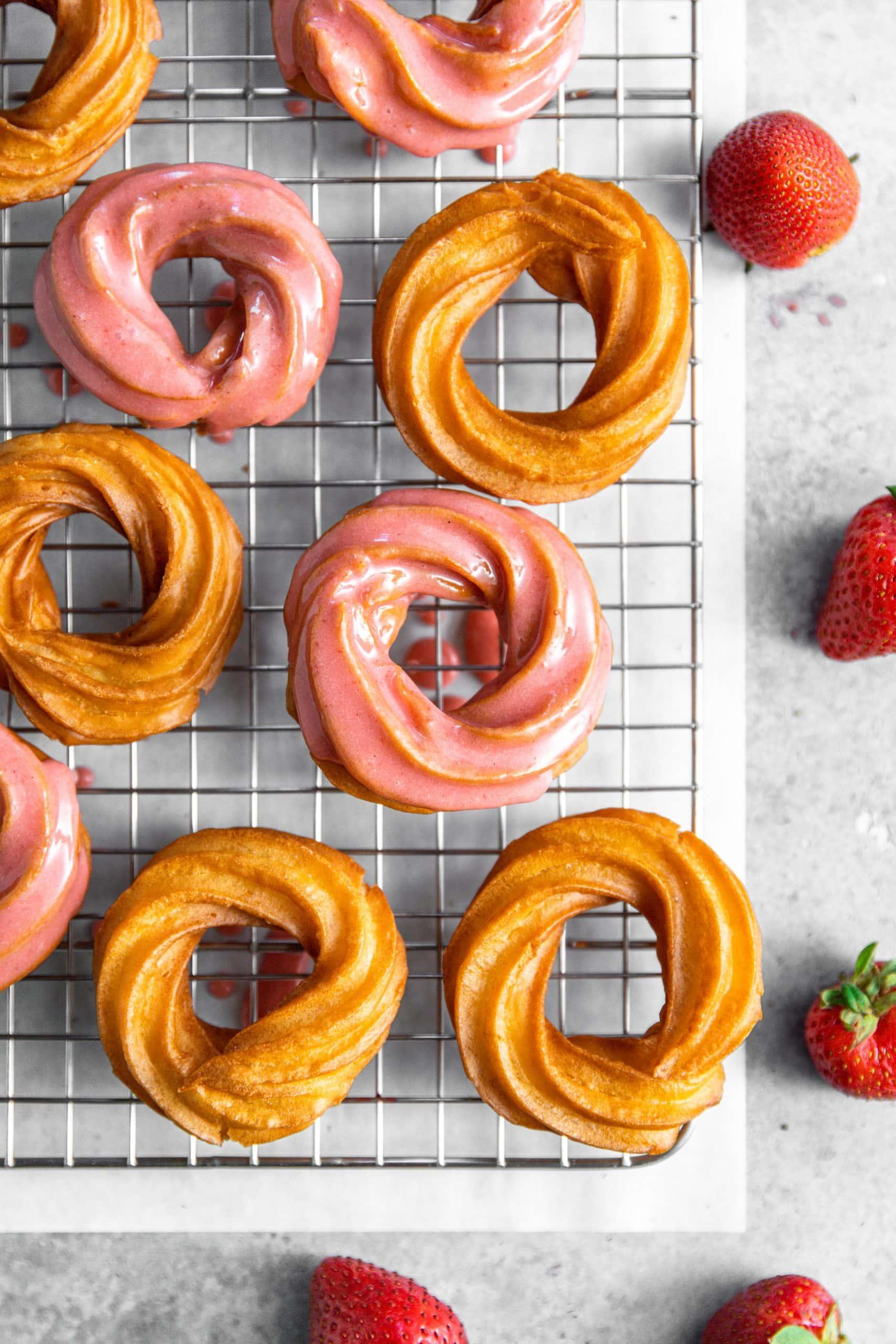 Strawberry Cardamom Crullers